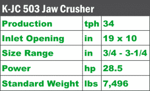 K-JC503 Mobile Jaw Crusher quick spec sheet